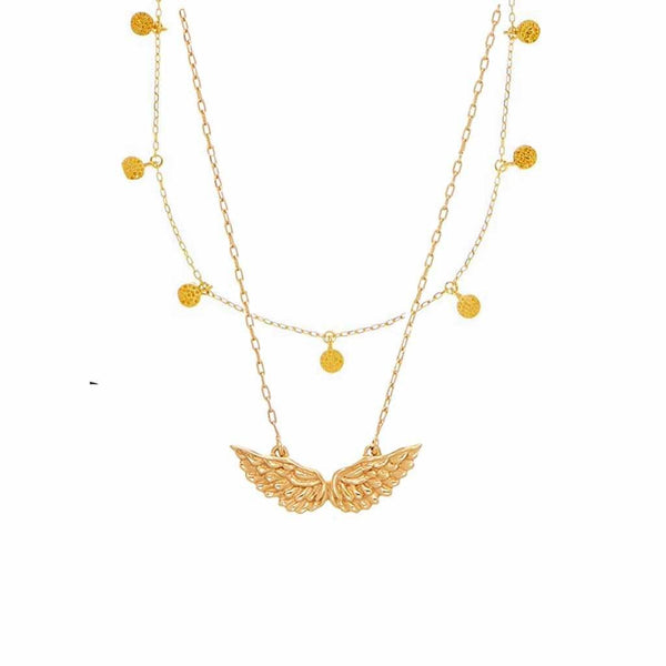 14k Gold Mini Hanging Coin & Angel Wings Necklace Set
