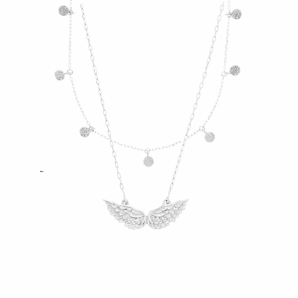 Sterling Silver Mini Hanging Coin & Angel Wings Necklace Set Necklace Malya