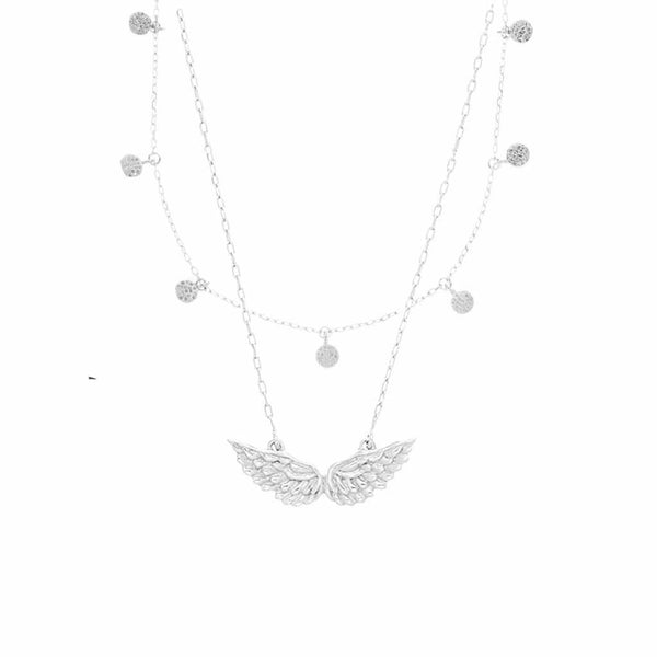 Sterling Silver Mini Hanging Coin & Angel Wings Necklace Set