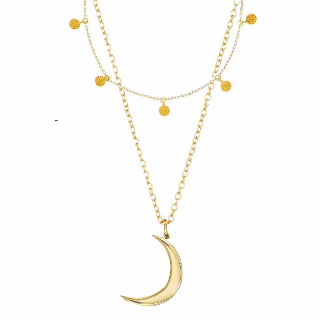 14k Gold Mini Hanging Coin & New Moon Necklace Set 135.00 Gold, necklace, Necklace Set, New In, over-80