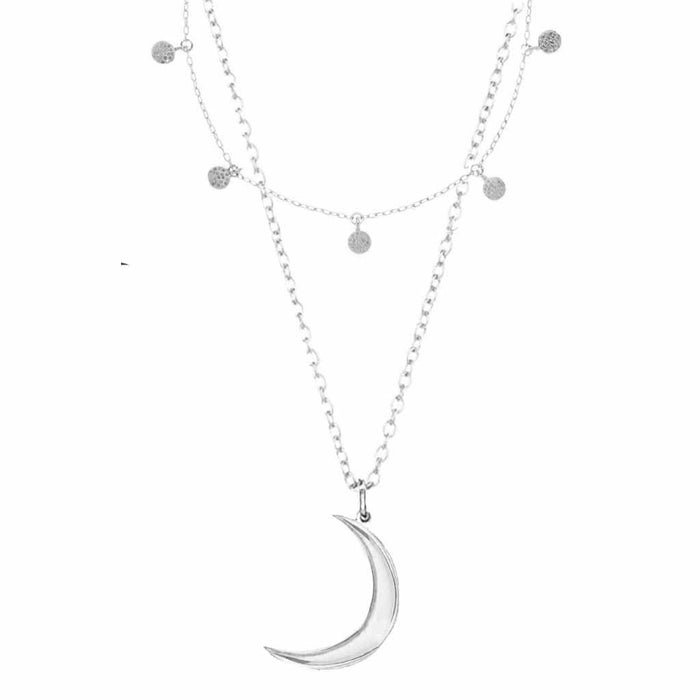 Sterling Silver Mini Hanging Coin & New Moon Necklace Set