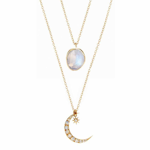14k Gold Semi Precious Stone Pendant & Crescent Moon Pendant in Moonstone & Diamond Set Necklace Malya
