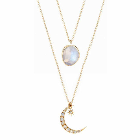 14k Gold Semi Precious Stone Pendant & Crescent Moon Pendant in Moonstone & Diamond Set