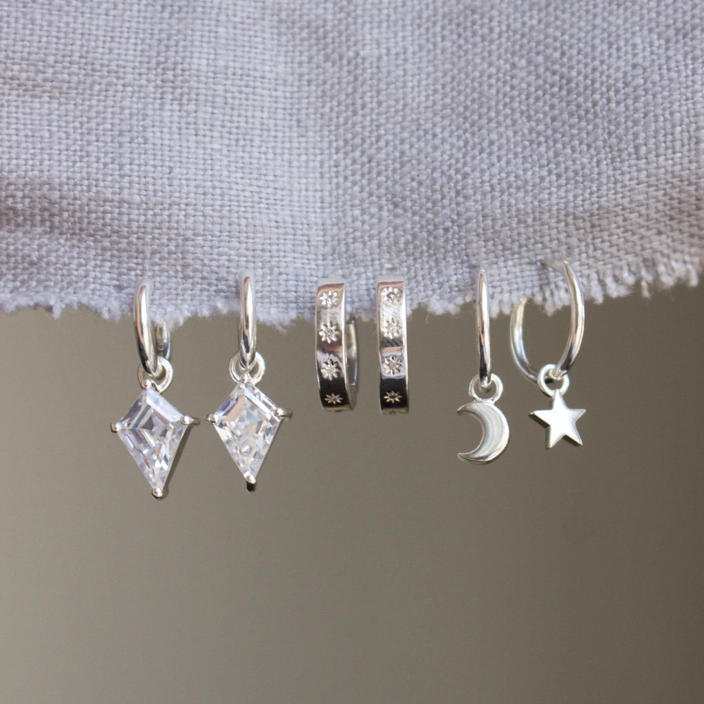Moon & Star Charm Hoops in Sterling Silver