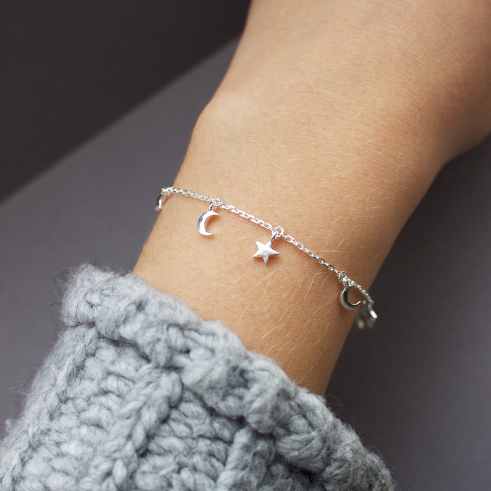 Sterling Silver Mini Charm Bracelet in Moon & Stars