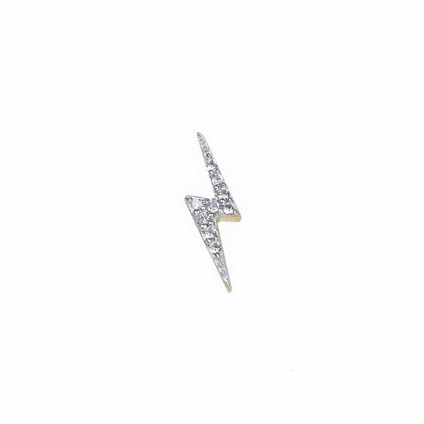 14k Gold Vermeil Single Lightning Bolt Diamond Stud Earring