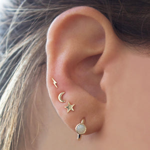 9k Solid Gold Lightning Bolt Stud Earring