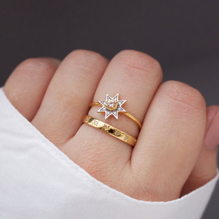 14k Gold Vermeil Morganite & Diamond Pave Star Ring