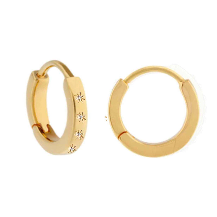 14k Gold Vermeil Star Set Diamond Hugging Hoops