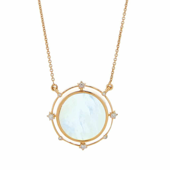 Stars Go Round The Moon Mother Of Pearl Necklace In Gold Vermeil