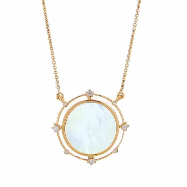 14k Gold Vermeil Stars Go Round the Moon Necklace in Mother of Pearl