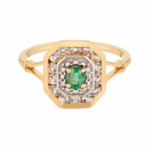 Emerald Statement Vintage Deco Ring in Gold Vermeil