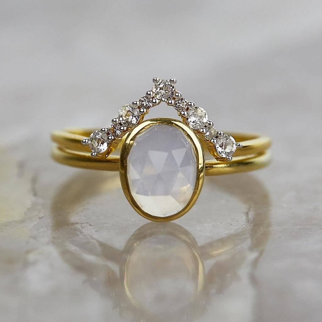 14k Gold Vermeil White Topaz Statement Hugging Ring Ring Dwarkas