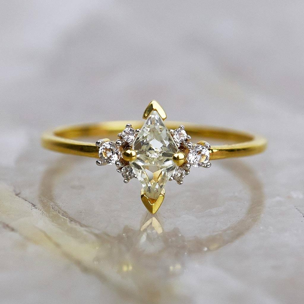 14k Solid Gold Luna Statement Ring in Green Amethyst & Diamond 1000.00 14k Solid Gold, Cosmos, Engagement, over-80, ring, Solid Gold, Wedding, Wedding Rings