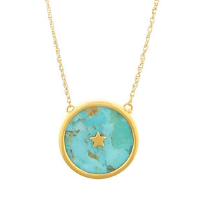 "14k Gold Vermeil Night Sky Pendant Necklace in Turquoise 130.00 18"", Best Seller, Cosmos, Gold, necklace, over-80, Turquoise, Valentines"