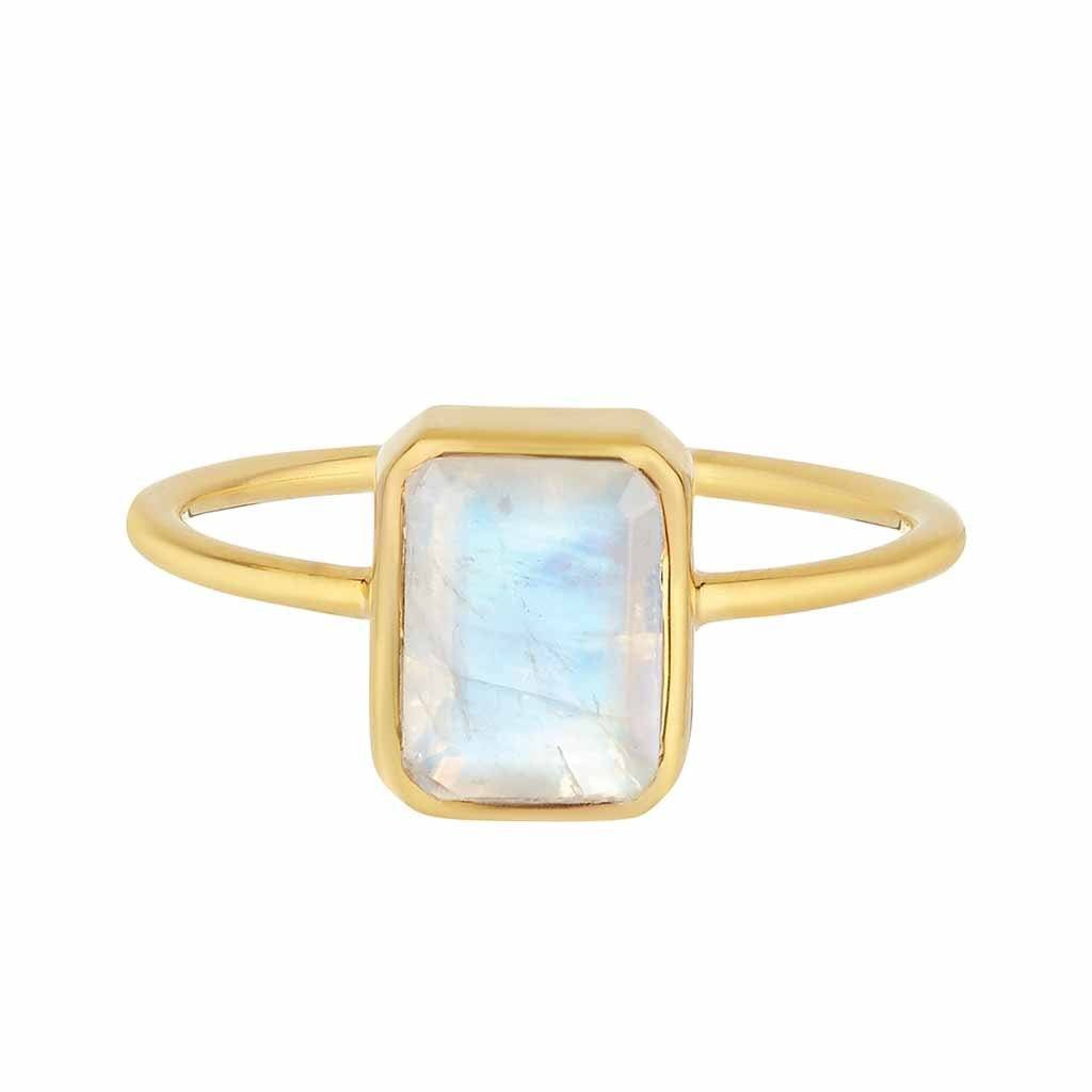 Moonstone Supernova Ring In Gold Vermeil