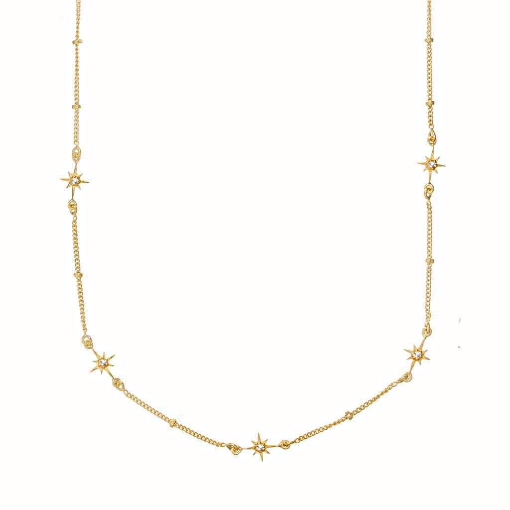 "14k Gold Vermeil Dainty Star Chain in White Topaz  16"", Best Seller, Cosmos, Gold, necklace, over-80, Semi Precious"
