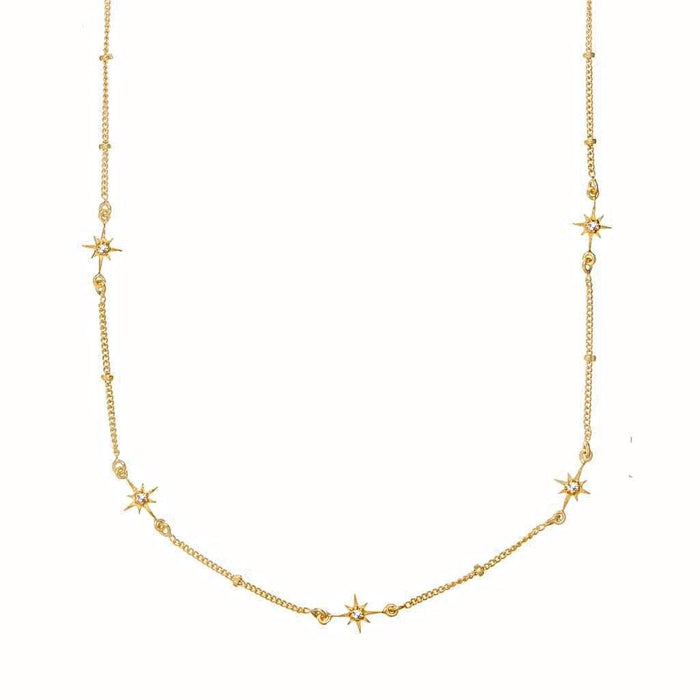 14k Gold Vermeil Dainty Star Chain in White Topaz