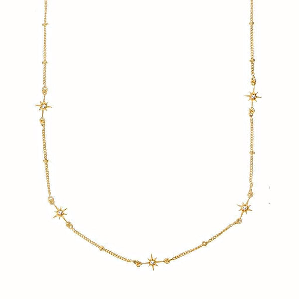 14k Gold Vermeil Dainty Star Chain in White Topaz Necklace Malya