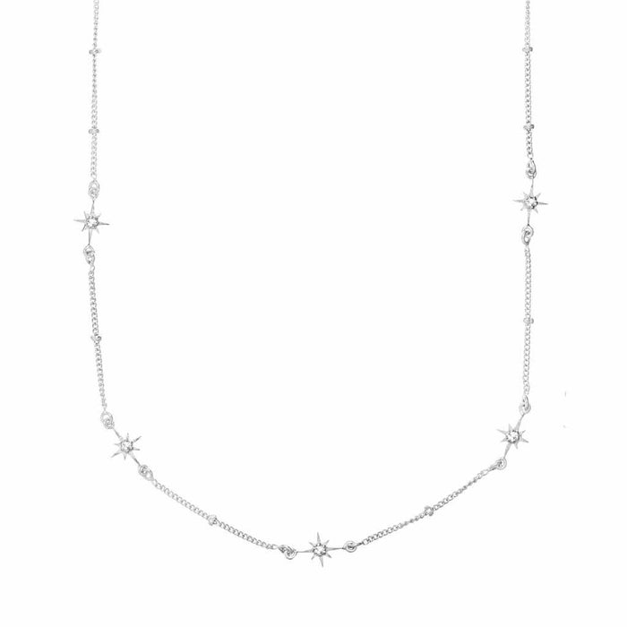 Sterling Silver Dainty Star Chain in White Topaz
