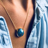 14k Gold Vermeil Statement Semi Precious Stone Pendant in Copper Turquoise Necklace Malya