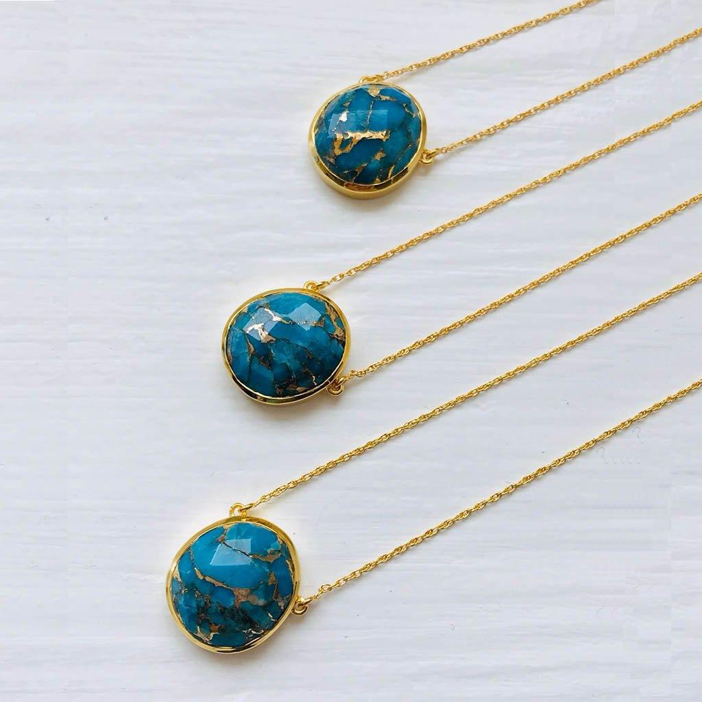 "14k Gold Vermeil Statement Semi Precious Stone Pendant in Copper Turquoise  100k10, 16"", Best Seller, Bestseller, Gold, necklace, Organic, over-80, Semi Precious, Turquoise"