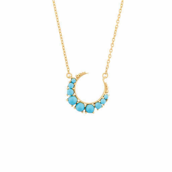 Turquoise Crescent Moon Necklace in Gold Vermeil