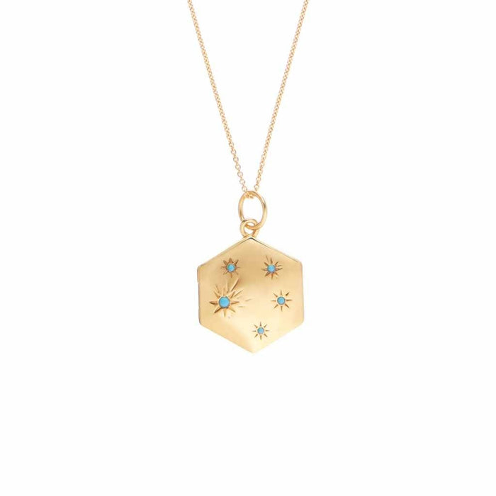 Turquoise Shooting Star Locket in Gold Vermeil