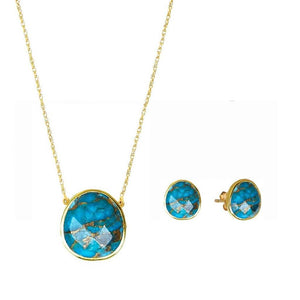 14k Gold Vermeil Semi Precious Stone Pendant & Earring Set in Copper Turquoise
