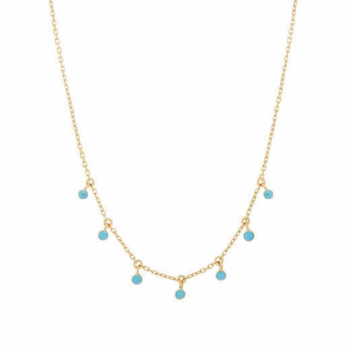 Turquoise Drop Necklace In Gold Vermeil