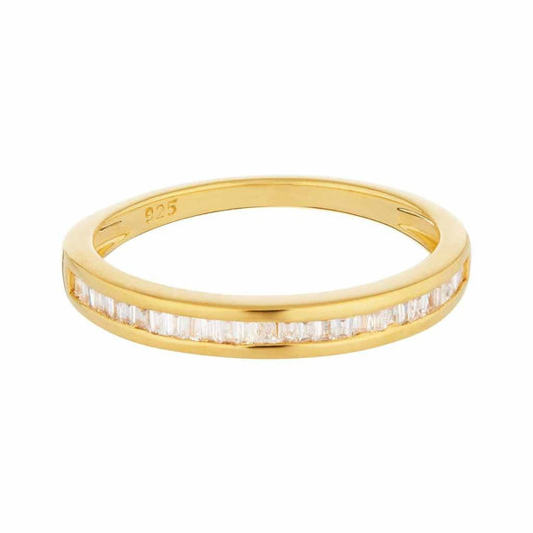 14k Gold Vermeil Baguette Cut Diamond Band Ring VJI Gold Vermeil Extra Small
