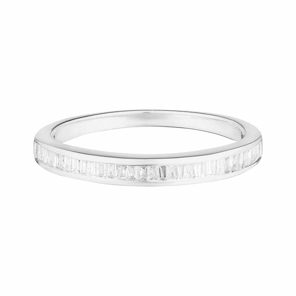 Baguette Cut Diamond Band In 14k Solid White Gold