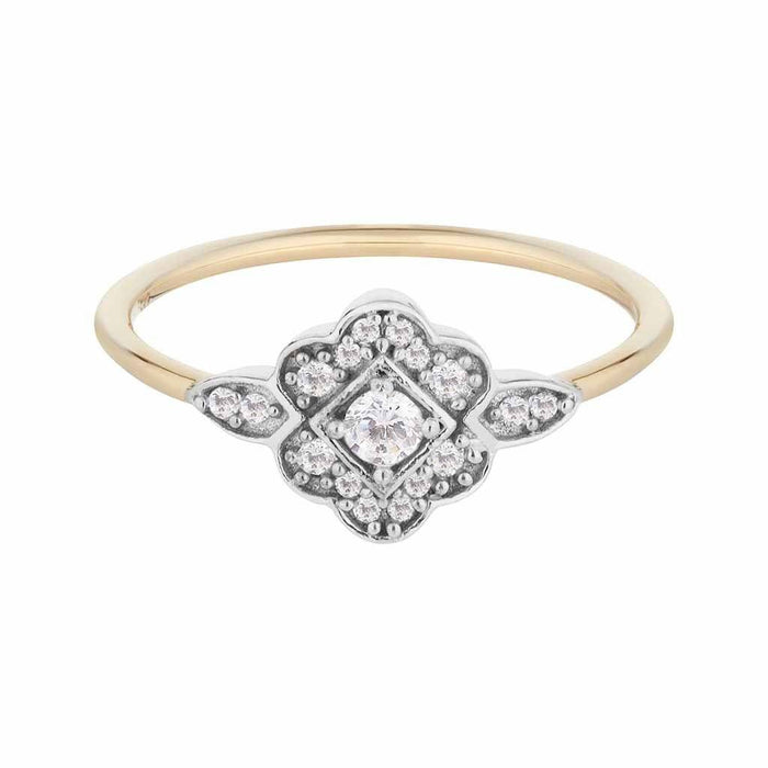 14k Solid Gold Cassiopeia Vintage Diamond Crest Ring