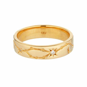 14k Gold Vermeil Chunky Diamond Constellation Band Ring Dwarkas