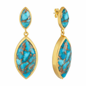 14k Gold Plated Marquise Statement Earrings in Copper Turquoise