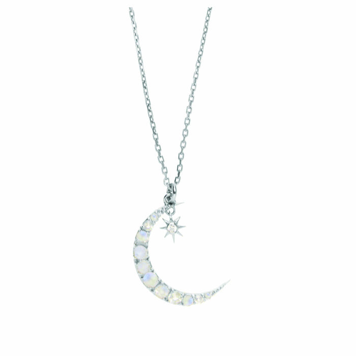 Sterling Silver Moon & Star Pendant Necklace in Moonstone & Diamond