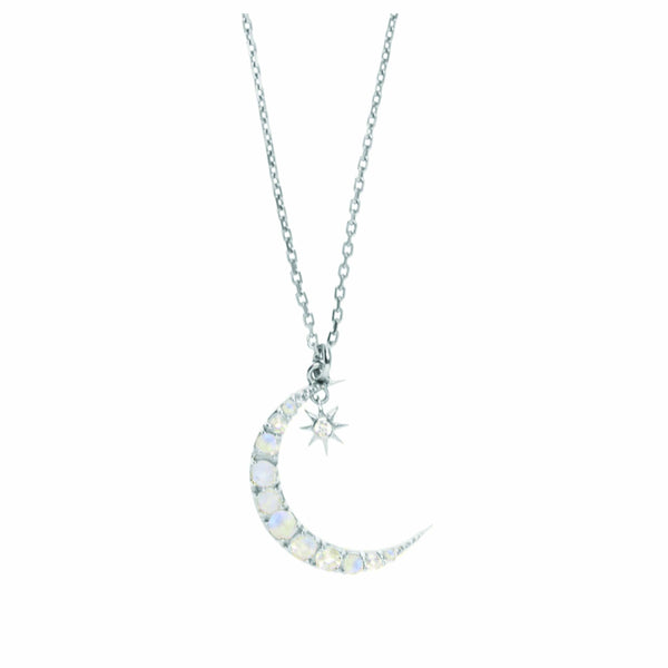 Sterling Silver Moon & Star Pendant Necklace in Moonstone & Diamond Necklace Dwarkas Silver