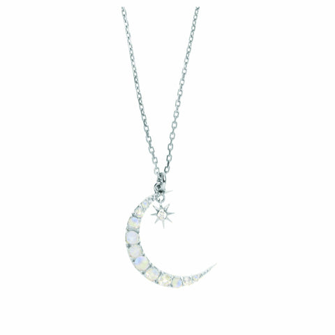 Sterling Silver Moon & Star Pendant in Moonstone & Diamond