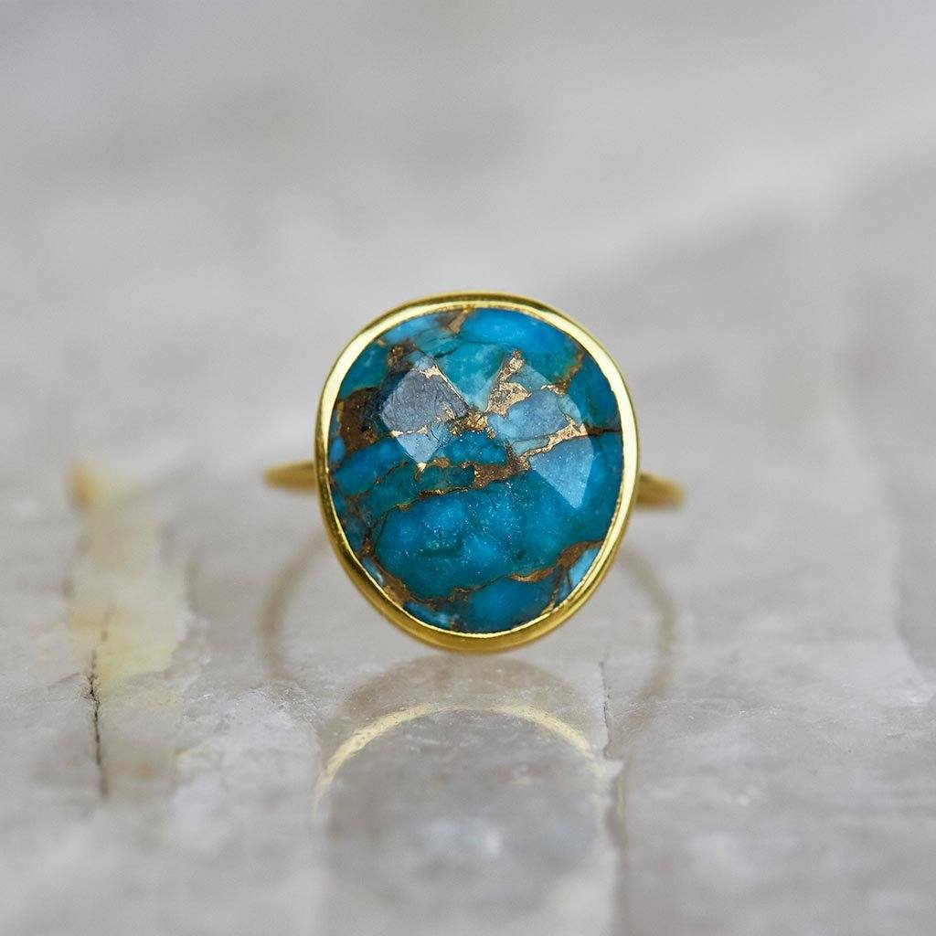 14k Gold Vermeil Statement Copper Turquoise Ring 95.00 Best Seller, Gold, Organic, over-80, ring, Semi Precious, Turquoise