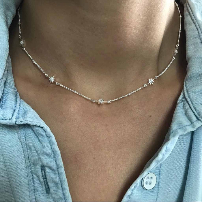 "Sterling Silver Dainty Star Chain in White Topaz  16"", Cosmos, necklace, over-80, Semi Precious, Silver"
