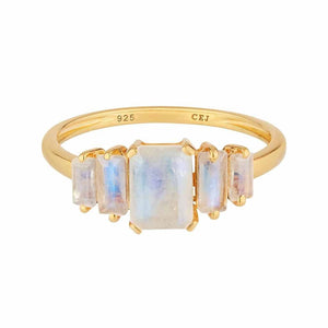 14k Gold Vermeil Moonstone Deco Ring