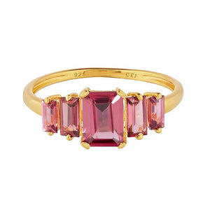 9k Solid Gold Rhodolite Deco Ring
