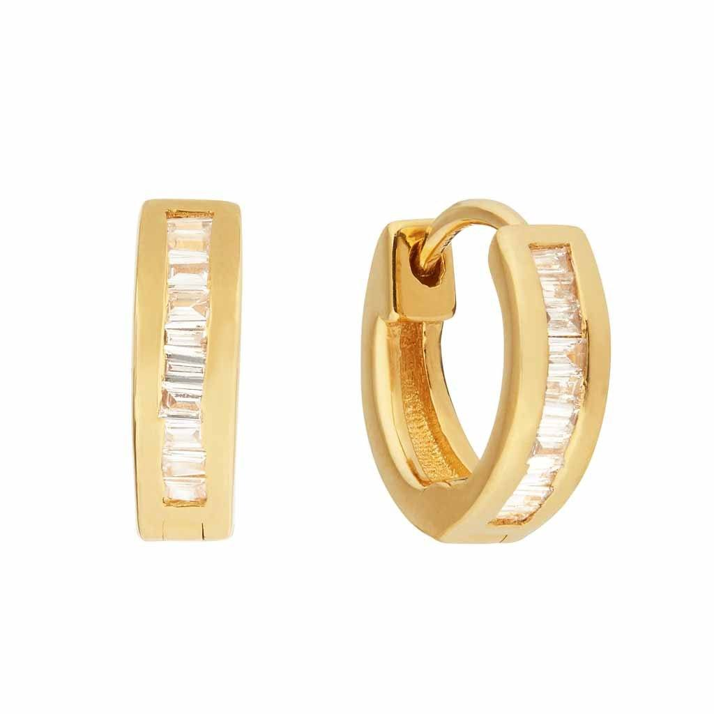 14k Gold Vermeil Baguette Diamond Hugging Hoops Earrings VJI 14K Gold Vermeil