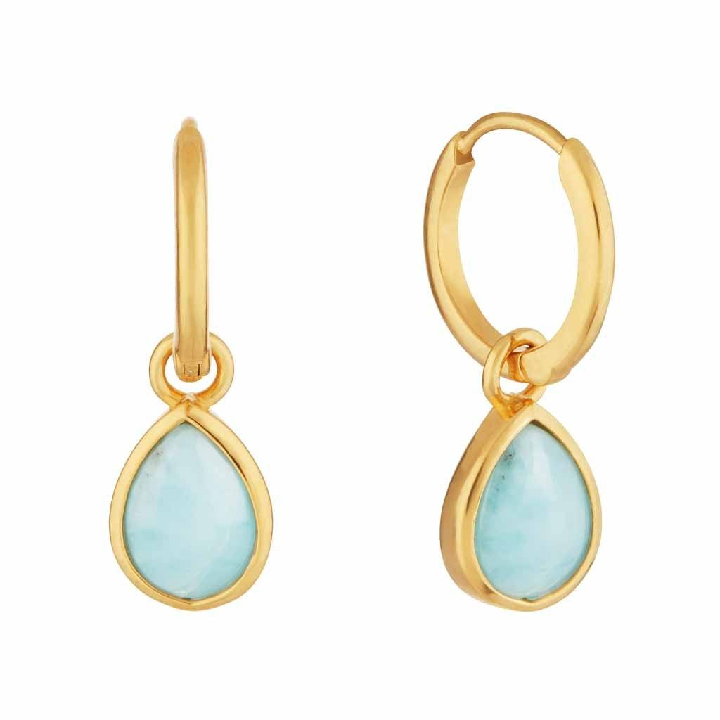 14k Gold Vermeil Semi Precious Drop Hoop Earring in Larimar Earrings VJI 14k Gold Vermeil PAIR