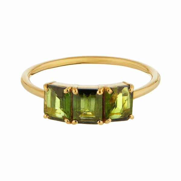 9k Solid Gold Deco Emerald Cut Ring in Green Tourmaline