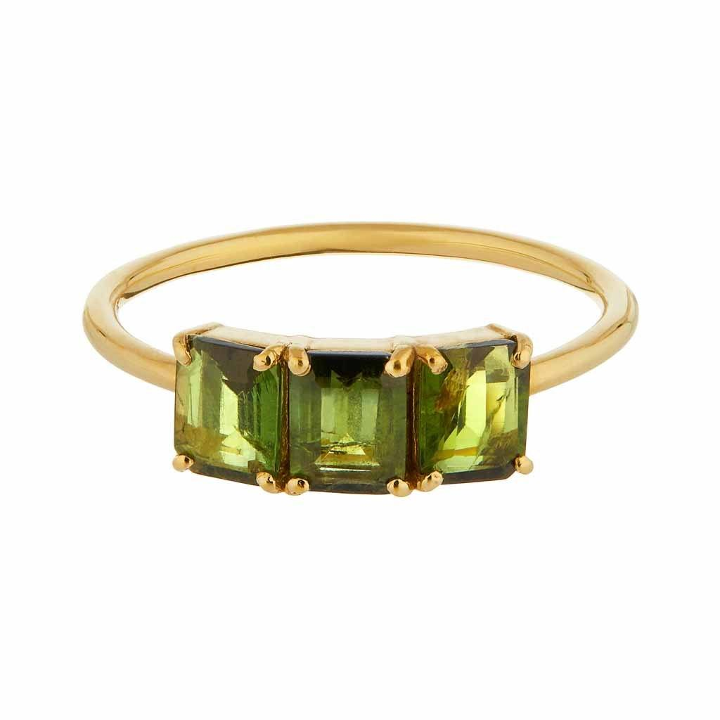 14k Gold Vermeil Deco Emerald Cut Ring in Green Tourmaline