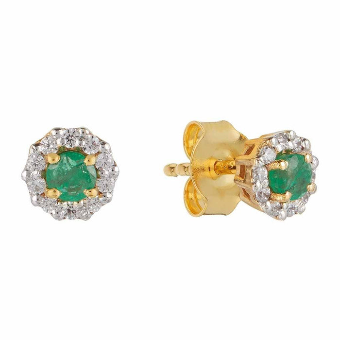 14k Gold Vermeil Emerald & CZ Stud Earrings