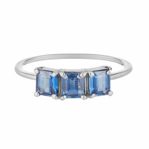 Sterling Silver Deco Emerald Cut Ring in Blue Kyanite