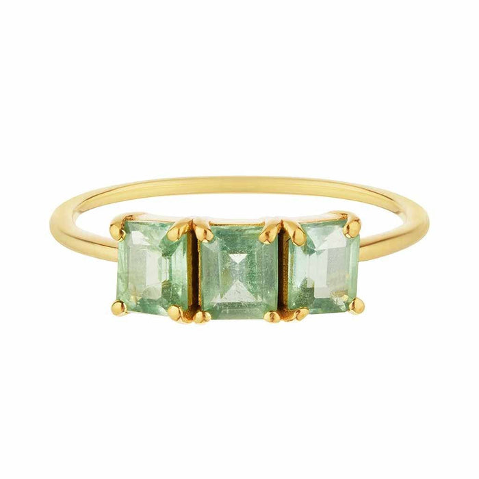 14k Gold Vermeil Deco Emerald Cut Ring in Mint Kyanite