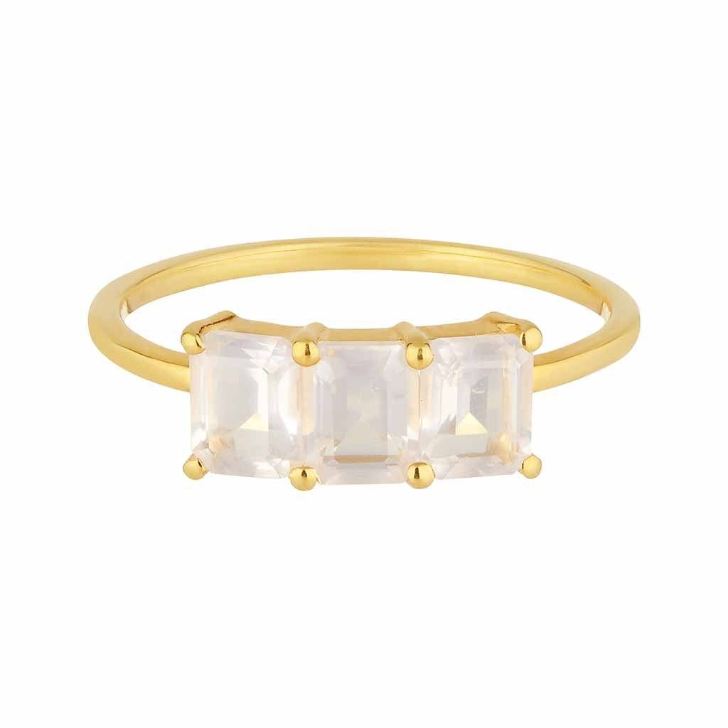 9k Solid Gold Deco Emerald Cut Ring in Rose Quartz Ring Pink City